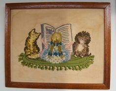 Vintage Needlework Girl Reading with dog and cat by lookonmytreasures on Etsy