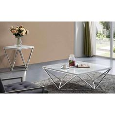 The Meridian Furniture Inc Skyler Chrome Coffee table adds a contemporary feel to your favorite room. This coffee table shines with a stylish geometrical. Coffee Table End Table Set, Palette Coffee Tables, 4 Piece Coffee Table, Marble Top Coffee Table, End Table Sets, Cool Coffee Tables, Modern Coffee Tables, Dining Table, Living Room Table Sets