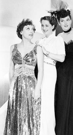 "Here's how the Adrian skirt looked in the black and white movie ""The Women"" with Joan Crawford. 1939."