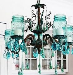 recycled chandelier mason jars- LOVE, LOVE, LOVE this !!! by johanna