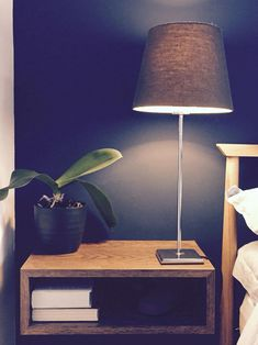 Floating bedside tables, made from old walnut shelves (cut with mitre saw, glued together, steel brackets hidden at back). - Like this idea for the guest room, keep functionality but save some space Floating Shelves Bedroom, Floating Corner Shelves, Wooden Floating Shelves, Glass Shelves, Master Bedroom Redo, Bedroom Decor, Bedroom Boys, Bedroom Storage, Master Bathroom