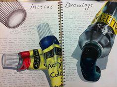 Tubes of paint study A Level Art Sketchbook, Sketchbook Layout, Textiles Sketchbook, Sketchbook Inspiration, Sketchbook Ideas, Moleskine, Art Alevel, Observational Drawing, Ap Studio Art