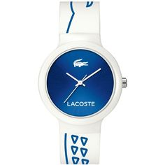 Lacoste Unisex Goa Blue-Printed White Silicone Strap Watch 40mm... (125 CAD) ❤ liked on Polyvore