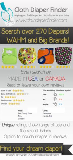 The first and only searchable cloth diaper database.  Find diapers by price, style, closure, or even find diapers made in the USA.