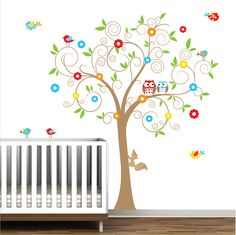 Children Vinyl Wall Decal with Owls Branch Birds-Nursery Tree Wall Decal. $99.00, via Etsy.