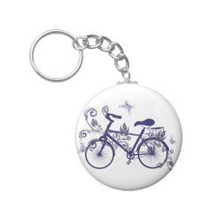Bicycle and Floral Ornament 5 Keychain
