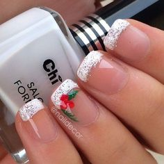 French Tips with Snowflake Nail Art: