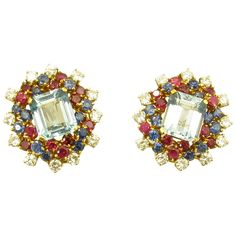 Beautiful Pair of Aquamarine Ruby Sapphire Diamond Gold Platinum Earrings | 1stdibs.com