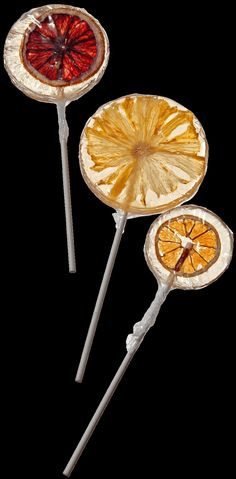 Fruit Lollipops / These lollipops, made with real fruits or herbs embedded in pellucid discs of candy, look like stained glass. Flavors include kiwi, blood orange, mandarin, strawberry, lavender and honey. Fill mugs or jars with clusters of them to put on a holiday table with dessert, or stuff into a stocking.