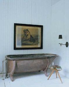 Cement bath. Dark green interior. http://darrylcarterbath.jpg