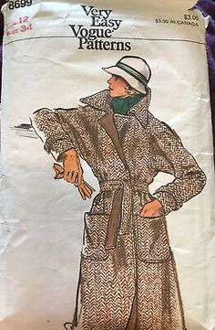 Vogue Vintage Pattern Wrap Coat 8699 B Used Complete. Condition is Used. Shipped with USPS First Class Package. It is used and complete. The tissue has some tears that make it more fragile. The envelope is in poor condition. Vintage Vogue Patterns, Jumpsuit Pattern, Wrap Coat, Coat Patterns, Skirt Suit, Vogue Paris, Envelope, Classy, Ebay