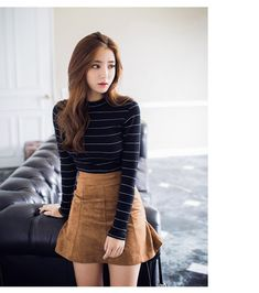 0596fd5b94c7 Thin Striped Long Sleeve T-Shirt - I know you wanna kiss me. Thank