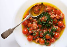 Cherry Tomato Vinaigrette - use with: grilled flank steak, toss with pasta (add cubed mozzarella) or grill summer squash, onion, peppers and eggplant then top with vinaigrette