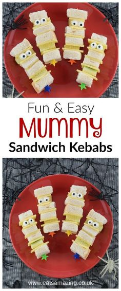 Quick and easy Mummy sandwich kebabs recipe with video tutorial - fun kids Halloween party food and great for spooky lunch boxes too - Eats Amazing UK kinder Mummy Sandwich Kebabs - Fun Halloween Food for Kids Halloween Lunch Ideas, Buffet Halloween, Halloween Treats For Kids, Halloween Baking, Halloween Dinner, Halloween Food For Party, Halloween Sandwich, Halloween Cupcakes, Halloween Halloween