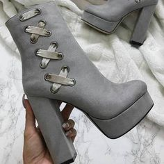 111.13$  Buy here - http://aimyv.worlditems.win/all/product.php?id=32799375598 - Most popular woman boots super high heels thick heel  high platform light grey color for your selection  ankle boots zipper type