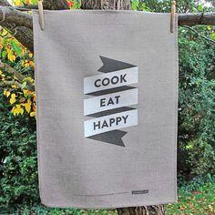 cook | eat | happy 100% linen tea towel