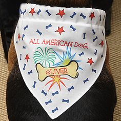 """Cute 4th of July accessory for your dog to wear to the July 4th parade or party! It's only $12.95! It's the Personalized """"All American Dog"""" Bandana from PersonalizationMall - they have the cutest stuff for pets and great holiday gifts!"""