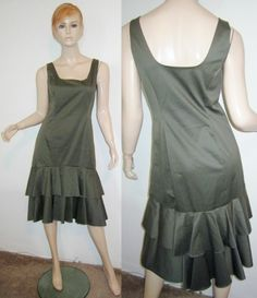 RALPH LAUREN Black Label Cotton Stretch Ruffle Tier Hem Sheath Dress 10...http://stores.shop.ebay.com/vintagefluxed