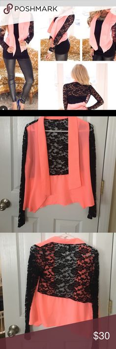 Coral lace blazer NWOT-- blazer with lace detail! Super cute and fashionable! Jackets & Coats