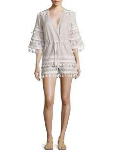 DODO BAR OR Yefet Cotton Tassel-Trim Romper. #dodobaror #cloth #romper