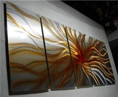 Electric - 64 inch x 24 inch Abstract Painting Metal Wall Art sculpture for contemporary decor Sculpture by Nider the Internationally Acclaimed Artist of Modern Contemporary Decor by NiderArt. $297.00. High Quality, Durable Rust Proof Aluminum Sculpture, Hand made in the USA!. Your metal wall art comes with easy to use hardware and hanging instructions, eliminating the need for costly framing.. Sculpted entirely by hand. Signed by the artist: Nider. 5ft 4in wide x...