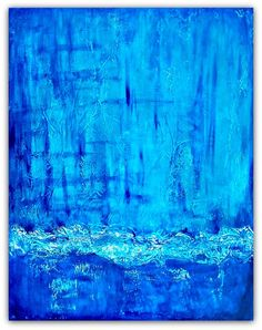 ARTFINDER: Untitled by Jessica Sanders - Vibrant blue and turquoise textured artwork.  All work is delivered ready to hang.  Sides are painted in black or coordinating color.  Artwork is finished ...