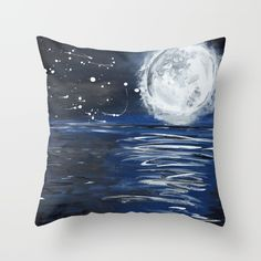 Moon reflection in water. Throw pillow. Acrylic painting