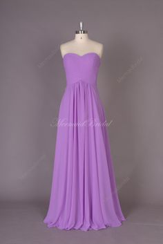 Lilact Simple Chiffon Long prom dress, evening dress, Party dresses, Long Bridesmaid Dress With Sweetheart Neckline