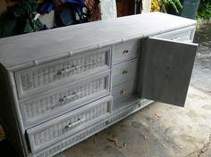 Painted wicker refurbished dresser. Grey.
