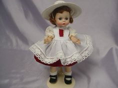This is a beautiful 1956 Madame Alexander-kins Doll. She is BKW Kins which means she is a bent knee walker. She is in excellent condition with original auburn triple stitched wig in original set, bright coloring with brown brows, green eyes that open and close freely, black under lashes, bright pink blushed cheeks and red lips. | eBay!