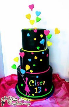31 Ideas birthday cake kids fondant party ideas for 2019 Fondant Girl, Fondant Cupcakes, Fun Cupcakes, Neon Birthday Cakes, Birthday Cupcakes, Birthday Parties, Bolo Neon, Disco Cake, Neon Cakes