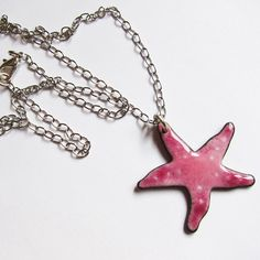 Starfish necklace Enameled beach jewelry One of a kind pink aquatic pendant Sealife jewelry Under 30 by OxArtJewelry on Etsy https://www.etsy.com/listing/128613128/starfish-necklace-enameled-beach-jewelry