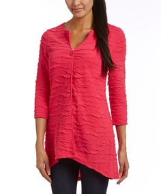 Love this Hot Pink Textured Cardigan on #zulily! #zulilyfinds