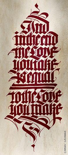 caligrafia en gótica textura. Gabriel Martinez