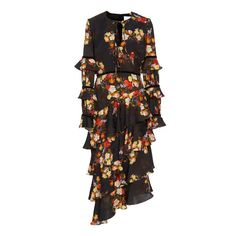Markarian Taurus Dress (£1,950) ❤ liked on Polyvore featuring dresses, floral, asymmetric midi dress, flower print dress, long sleeve floral dress, mid calf dresses and tiered dress
