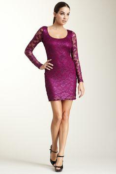 Jump Long Sleeve Lace Short Dress