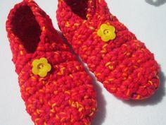 Crochet Slippers in Red Yellow and Orange by crochetedbycharlene
