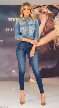 Double denim: Gigi Hadid was certainly dressed to impress on Tuesday, opting for a double denim ensemble when she arrived at the Guess store in Sydney's Macquarie Centre for a meet and greet event Estilo Gigi Hadid, Gigi Hadid Style, Double Denim, Denim Fashion, Look Fashion, Fashion Outfits, Latest Fashion, Fashion Trends, Street Fashion