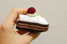 Crochet Cake Toy Raspberry Chocolate Amigurumi Cake by ZayaLosya, $12.00