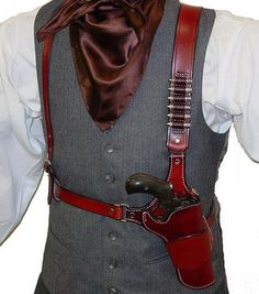 Cowboy Shoulder Rig Cowboy Shoulder Rig, commonly referred to as the Huckleberry, features a leather lined holster and adjustable shoulder and Western Holsters, Cowboy Action Shooting, Pistol Holster, 1911 Holster, Into The West, Leather Projects, Leather Crafts, Le Far West, Guns And Ammo