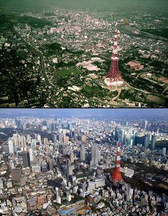 昭和毎日: 50枚の写真で振り返る東京タワーの50年 - 毎日jp(毎日新聞) Tokyo City, Tokyo Japan, Tokyo Tower, Birds Eye View, Japanese Culture, Historical Photos, Time Travel, Old Photos, Paris Skyline