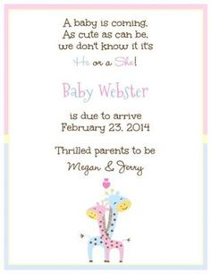 Giraffe Hug- Baby shower invitation, gender reveal party invite or cute pregnancy announcement card customized with your wording! from Little Angel Announcements