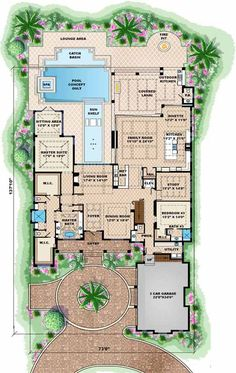 Coastal Style House Plans - 7592 Square Foot Home, 2 Story, 6 Bedroom and 6 3 Bath, 3 Garage Stalls by Monster House Plans - Plan 6 Bedroom House Plans, Ranch House Plans, Country House Plans, Dream House Plans, House Floor Plans, Br House, Sims House, Cottage House, The Plan