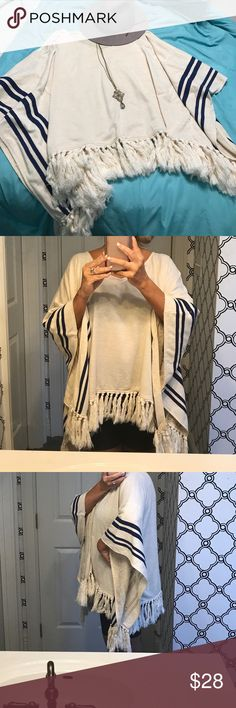 Altar'd State poncho Great for fall weather with jeans or leggings & boots!  Beige with navy stripes. Worn once. Altar'd State Tops