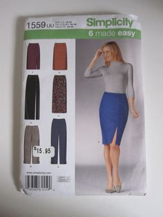 Simplicity #1559 Sewing Pattern 6 Made Easy Skirts Pants Misses' Size US 16-22  #Simplicity #Slim