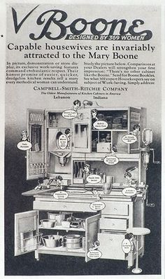 1927 Mary Boone Hoosier Cabinet Ad ~ Capable Housewives, Vintage Household Ads