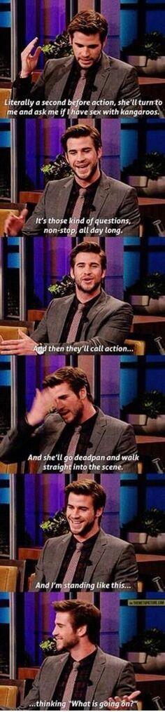 Liam Hemsworth talking about Jennifer Lawrence. hahaha