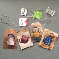Perfect snow day to put on a pot or two of tea Tea Bag Art, Tea Art, Paper Art, Paper Crafts, Creative Bookmarks, Gcse Art, Recycled Art, Art Journal Inspiration, Art Lessons