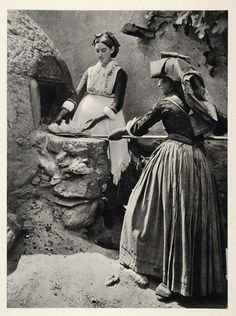 1937 Sardinia, Woman Bread making in Italy, Italian Cooking Vintage Italy