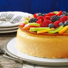 Crustless New York Cheesecake Recipe -This rich cheesecake is incredibly creamy. Even though the cake doesn't have a crust, I guarantee everyone will love it. —Mrs. George Parsell, Flushing, New York